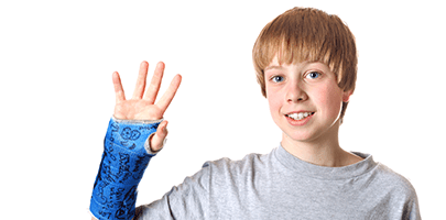child with blue cast