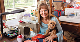 tami and dog with sewing machine
