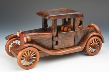 wood carving of automobile