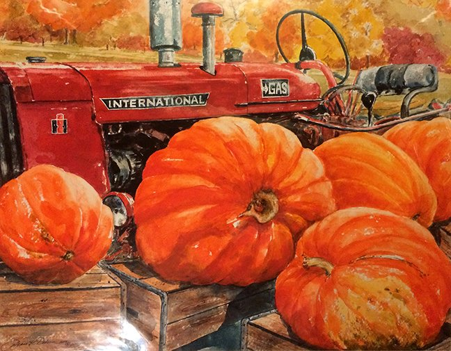 painting of a tractor in autumn